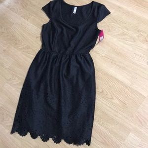 Black laser cut detail dress NWT